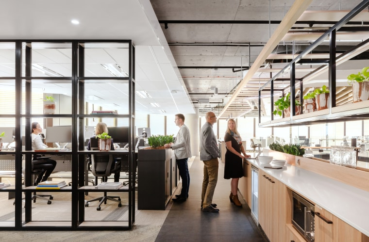 Mirvac's sunny level 30 kitchen facilities in the architecture, building, ceiling, daylighting, design, floor, furniture, interior design, loft, office, real estate, room, gray