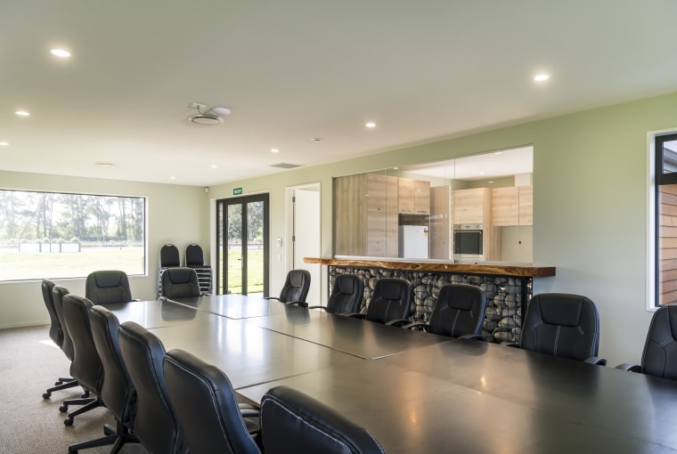 The Fowler Homes-built North Canterbury Fish & Game building, ceiling, chair, conference hall, floor, furniture, interior design, property, real estate, room, table, gray