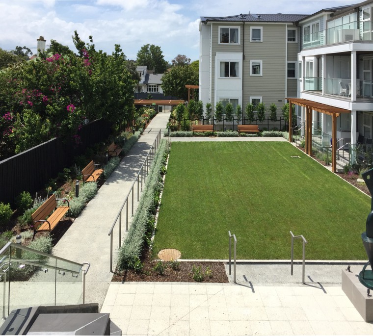 Planting, seating, lighting, and the public frontages of apartment, Rawhiti Estates,  Remuera,  Senior living village, Boffa Miskell
