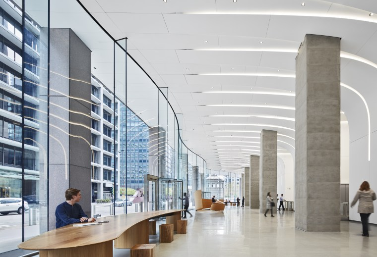 Designed by Krueck + Sexton Architects, the renovated architecture, building, commercial building, corporate headquarters, daylighting, glass, headquarters, interior design, lobby, metropolitan area, mixed-use, office, gray, white