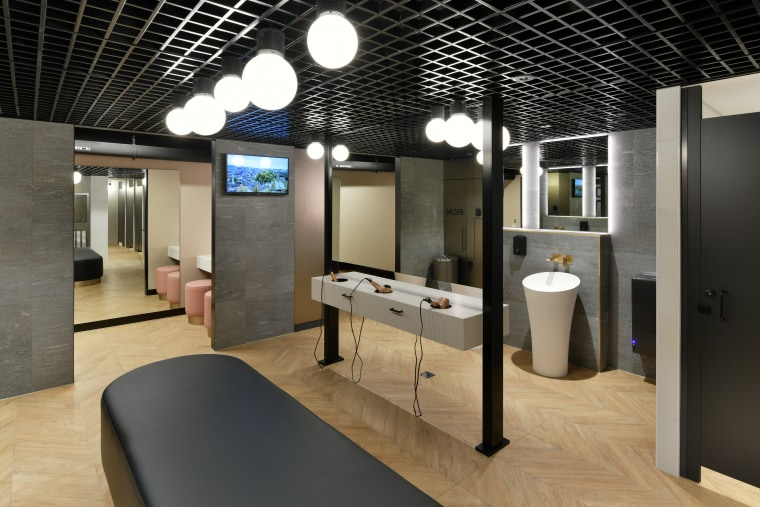 End-of-trip facilities in the lower basement level at architecture, bathroom, building, ceiling, design, floor, flooring, furniture, house, interior design, lighting, loft, property, room, black