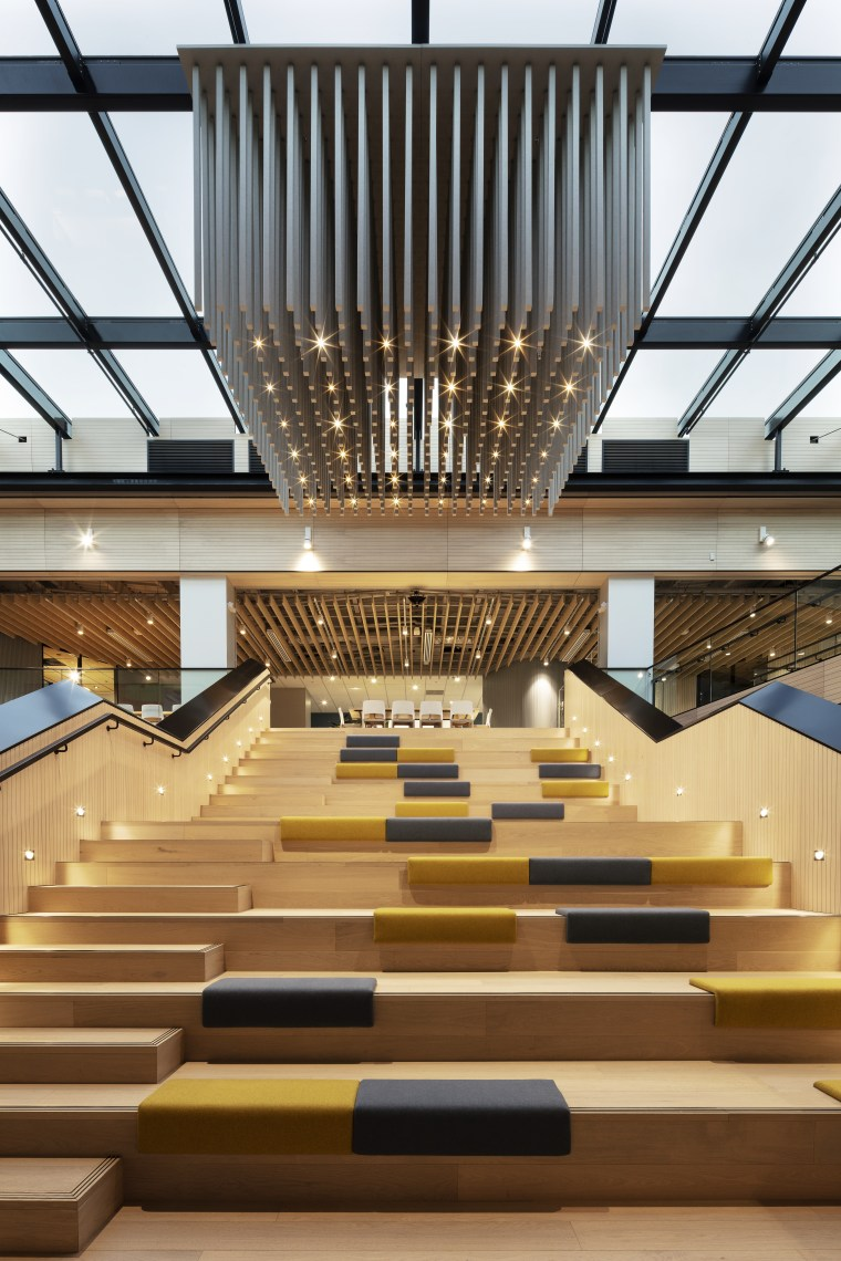 The grandstand stair in the Mercury offices fit-out architecture, building, ceiling, daylighting, design, house, interior design, lighting, line, lobby, stairs, wood, brown