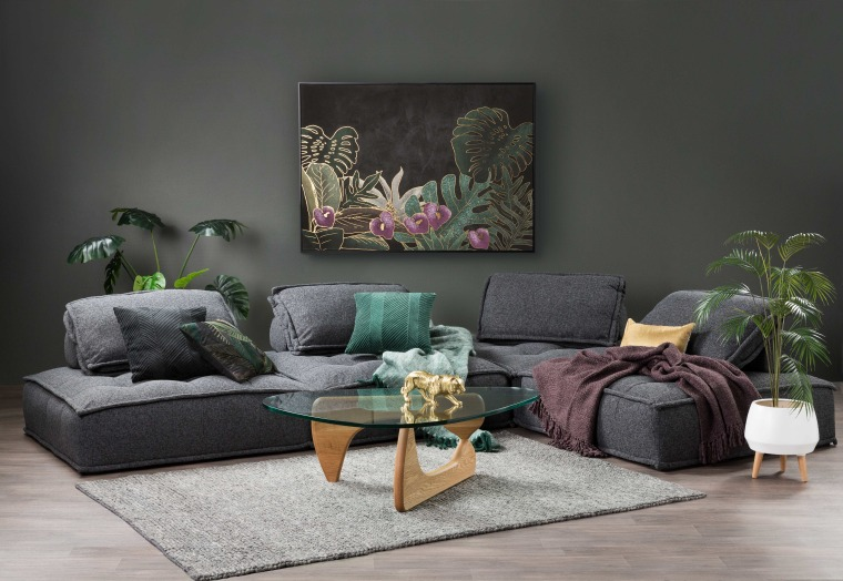A lot of the time rug selection comes coffee table, couch, floor, furniture, green, house, houseplant, interior design, living room, plant, purple, room, table, tree, wall, black, gray