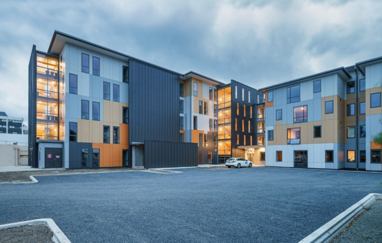 WINNER: Otago Polytechnic Student Village/ Te Pa Tauira-Otago apartment, architecture, building, condominium, elevation, facade, home, house, mixed use, neighbourhood, property, real estate, residential area, sky, window, teal, gray