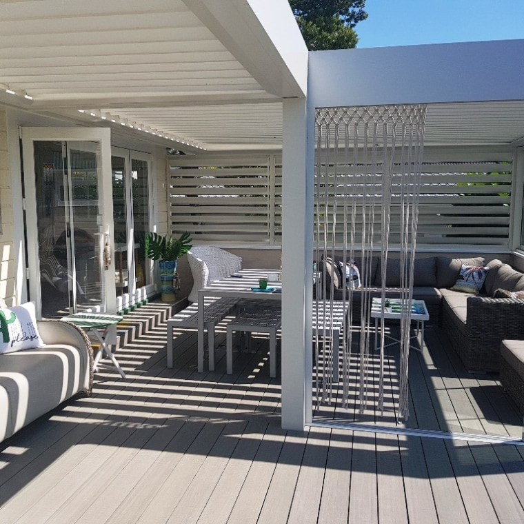 Indoor outdoor flow was instantly created leading straight architecture, building, deck, furniture, home, house, interior design, outdoor structure, patio, porch, property, real estate, residential area, room, shade, gray, black