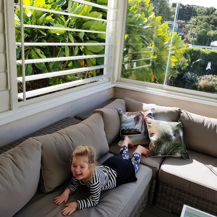 The creation of an outdoor room ensured more building, comfort, couch, furniture, home, house, interior design, leisure, living room, porch, property, real estate, room, tree, window, gray