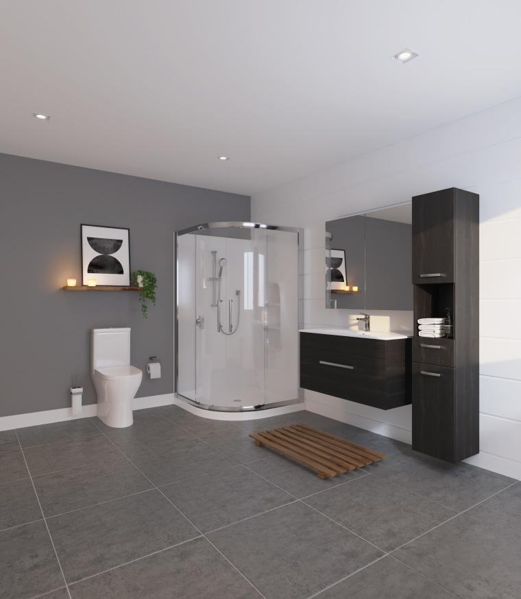 Bathroom by LeVivi - bathroom | floor | bathroom, floor, flooring, interior design, room, sink, gray