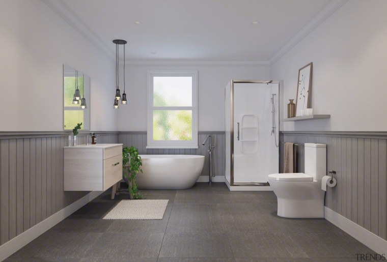 See the bathroom here architecture, bathroom, daylighting, estate, floor, flooring, home, interior design, plumbing fixture, property, real estate, room, tile, gray