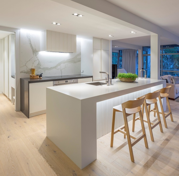 For this kitchen, the owners wanted a light, architecture, bar stool, building, cabinetry, ceiling, countertop, cupboard, design, dining room, floor, flooring, furniture, glass, home, house, interior design, kitchen, lighting, material property, property, real estate, room, stool, table, wood flooring, gray