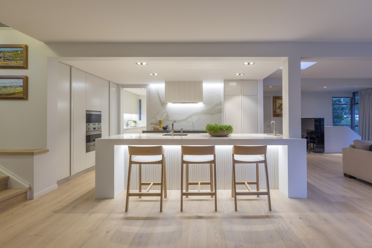 The white kitchen ideally complements the warm oak building, cabinetry, ceiling, design, dining room, floor, flooring, furniture, hardwood, home, house, interior design, kitchen, living room, property, real estate, room, table, wood flooring, gray