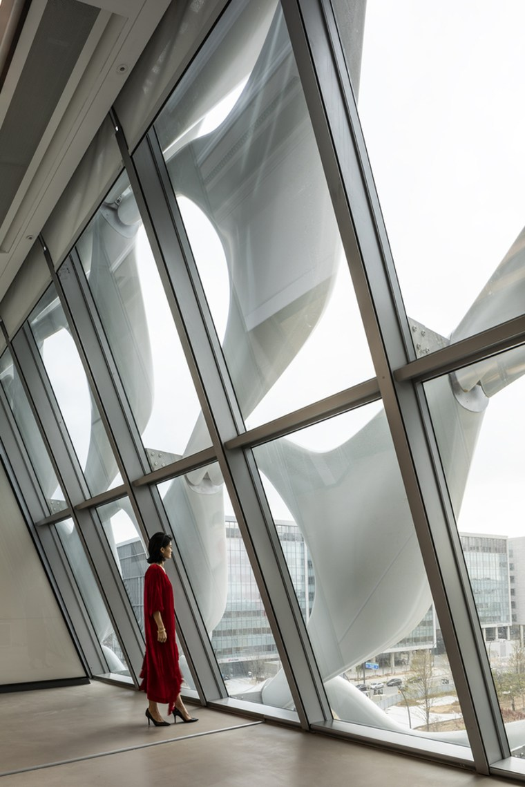 The Tower features large open spaces and uses architecture, building, daylighting, glass, structure, window, gray
