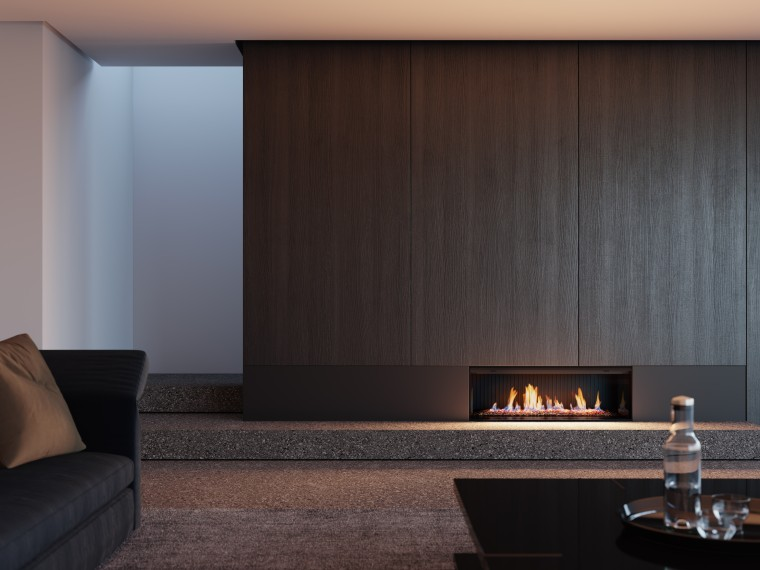 The Rinnai Linear fire offers a naturalistic ambience building, fireplace, floor, flooring, furniture, hardwood, hearth, heat, house, interior design, living room, property, room, wall, wood, wood-burning stove, black, gray