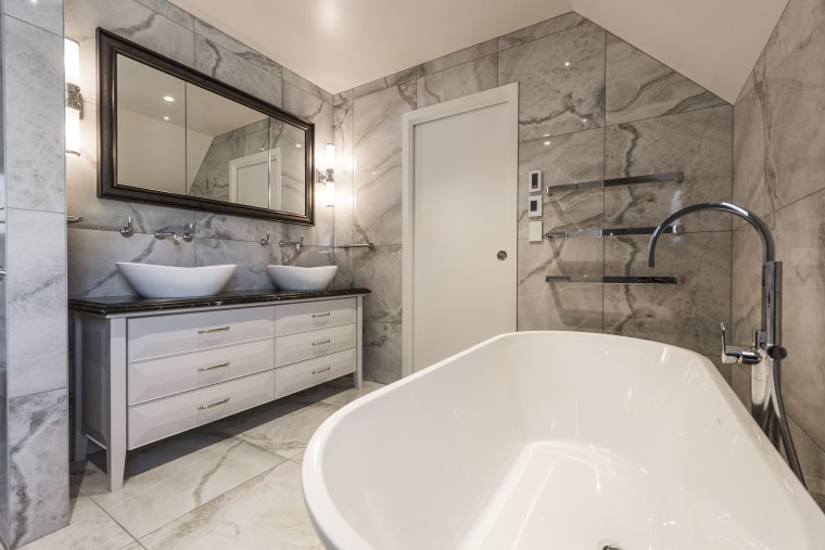 Sense of elegance - architecture | bathroom | architecture, bathroom, bathtub, building, ceiling, floor, furniture, home, house, interior design, marble, plumbing fixture, property, real estate, room, tap, tile, wall, gray
