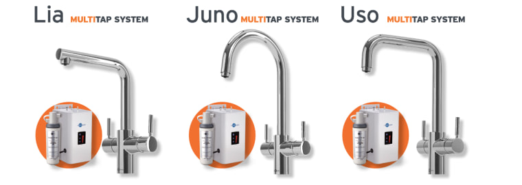 Available in 3 styles: Lia, Uso and Juno hardware, product, tap, white