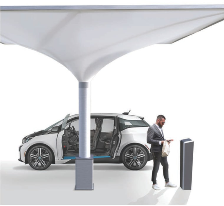 With integrated fast chargers, the solar carport can charge a automotive design, automotive exterior, car, mode of transport, motor vehicle, product, transport, vehicle, vehicle door, white