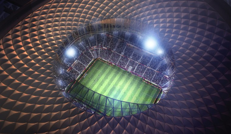 New look at Foster + Partners Lusail Stadium atmosphere, light, line, sport venue, structure, purple, black