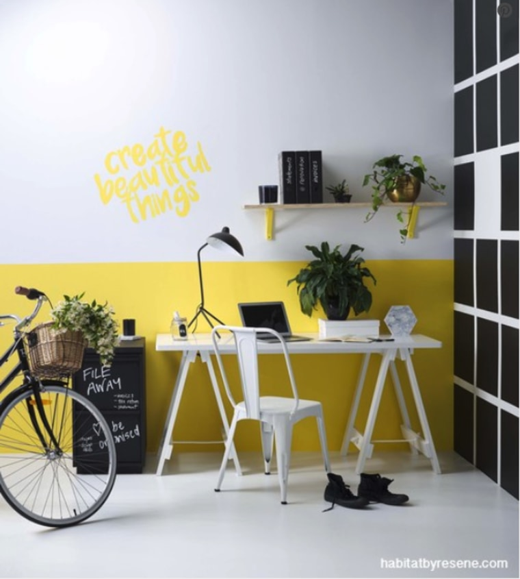 Yellow is the colour of sunshine and mental bicycle, bicycle wheel, chair, design, desk, furniture, interior design, office, room, shelf, table, vehicle, wall, wallpaper, yellow, white