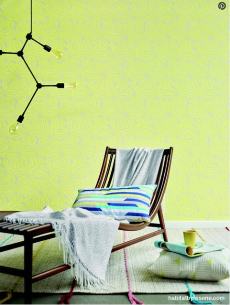 A deck chair inside? Why not? Bring the furniture, green, room, wall, wall sticker, wallpaper, yellow, yellow