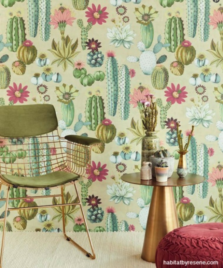 A fun wallpaper pattern will make you smile. curtain, furniture, green, interior design, living room, pattern, pink, plant, room, teal, textile, wallpaper, window treatment, yellow