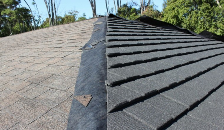 When you install a new CF roof over roof, slate, gray