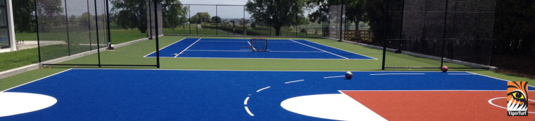 TigerTurf use different colours and line markings to ball game, floor, grass, leisure, line, play, sport venue, sports, stadium, tennis, tennis court, blue, black
