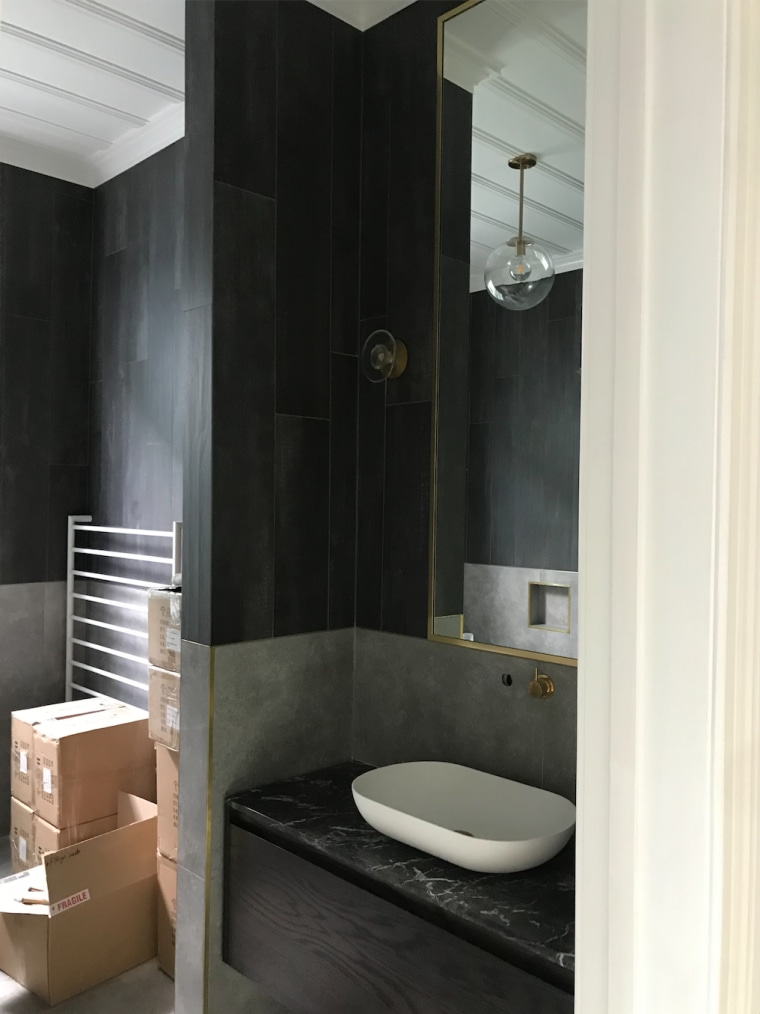 The bathroom had to feel grand and contemporary architecture, bathroom, bathroom accessory, bathroom cabinet, building, floor, furniture, house, interior design, marble, plumbing fixture, property, room, sink, tap, tile, toilet, black, white