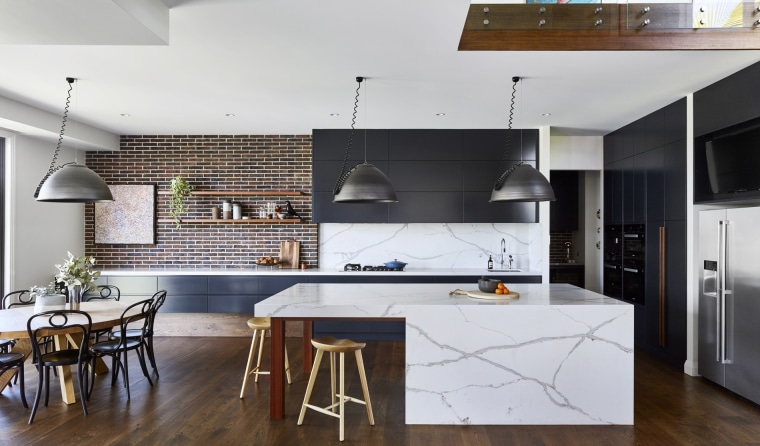 Put together a 'must have' list – do architecture, cabinetry, countertop, cuisine classique, interior design, kitchen, loft, wood flooring, white, black