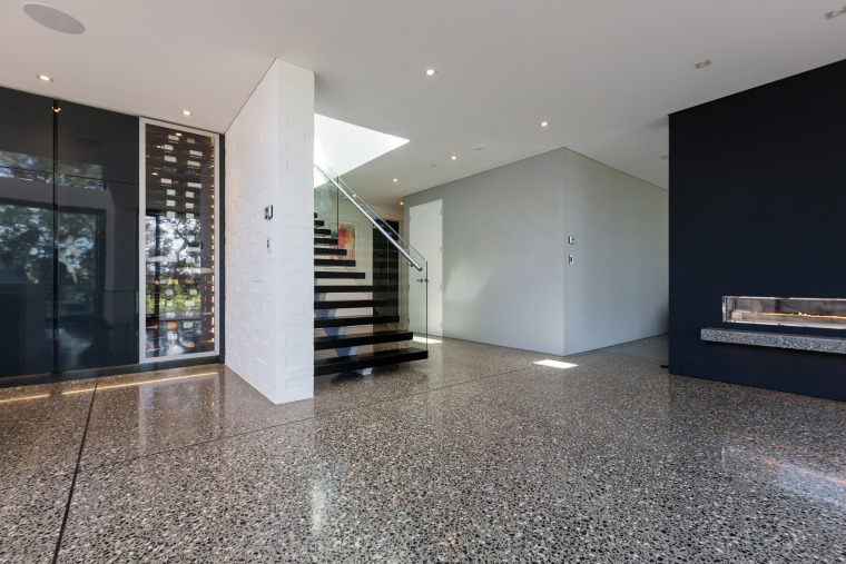 Allied Concrete – beautiful polished concrete - architecture architecture, building, ceiling, daylighting, floor, flooring, home, house, interior design, lobby, property, real estate, room, gray, black