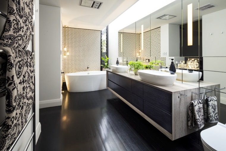 Winner – Jason Saunders Arc Seven 1 - bathroom, countertop, floor, flooring, interior design, kitchen, room, white, black