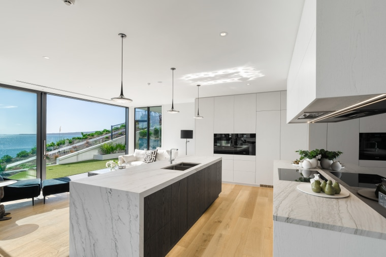 The fully integrated kitchen and scullery incorporate stunning apartment, architecture, building, ceiling, countertop, benshtop, stone top, integrated appliances, pendant lights, design, estate, floor, flooring, furniture, home, house, interior design, kitchen, living room, property, real estate, roof, room, table, wood flooring, gray