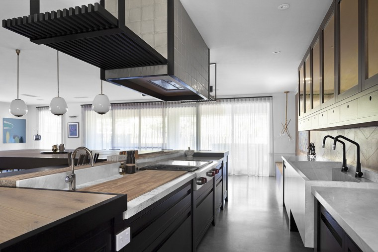 In this unfitted design, each element in the architecture, countertop, daylighting, interior design, kitchen, white, gray