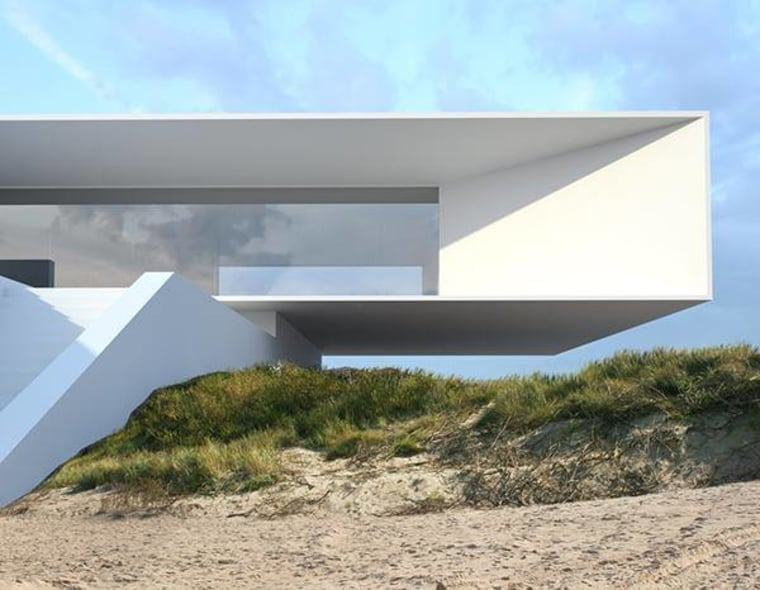 Commercial grade engineering was required to achieve a architecture, house, sky, teal, gray