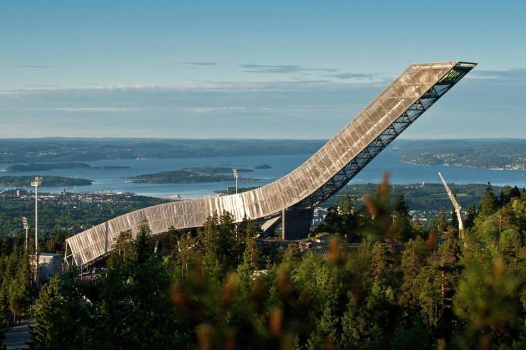 The design of the new Holmenkollen Ski Jump bridge, extradosed bridge, fixed link, sky, tree, teal