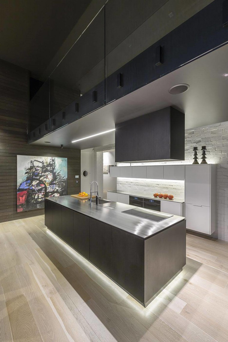 The clients wanted strong design that wouldn't detract architecture, countertop, floor, interior design, kitchen, table, gray, black