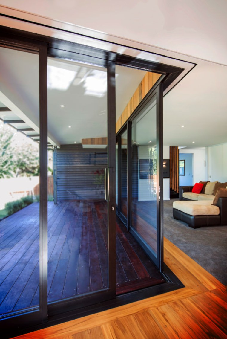 View out onto the deck architecture, daylighting, door, floor, glass, hardwood, house, interior design, real estate, window, wood, wood flooring, gray