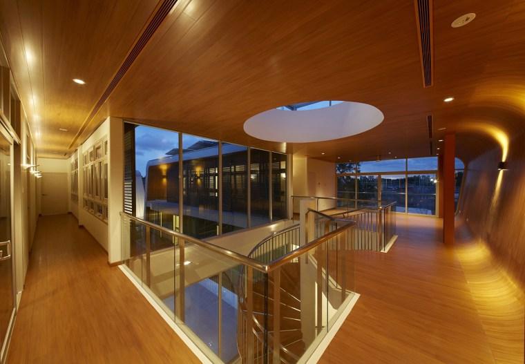 Hallway architecture, ceiling, daylighting, floor, flooring, house, interior design, real estate, wood, brown