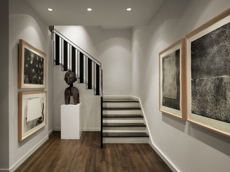 Hanging your artwork in pairs adds symmetry ceiling, exhibition, floor, flooring, interior design, wood flooring, gray