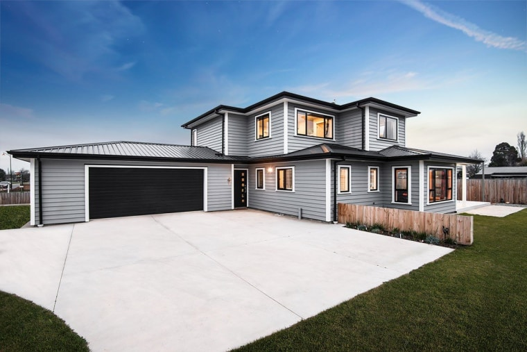 A new home clad with Envira Weatherboard System elevation, estate, facade, home, house, property, real estate, residential area, siding, suburb, white