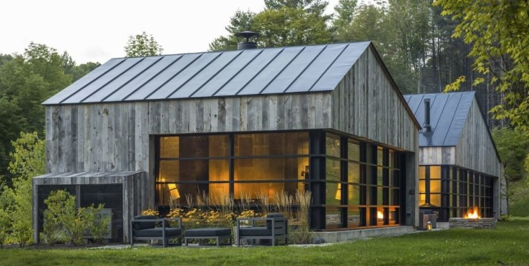 A forested home by Birdseye VT barn, cottage, farmhouse, home, house, hut, real estate, shed, brown, gray