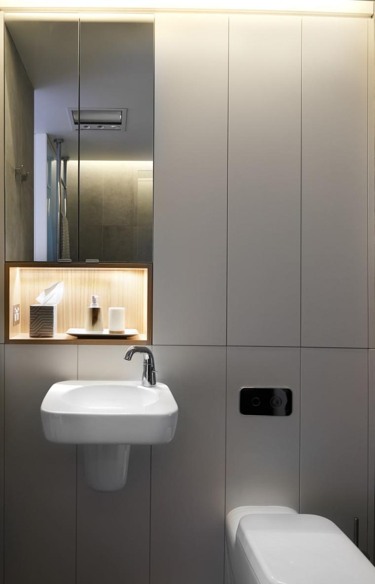 These grey panels hide storage cupboards bathroom, bathroom accessory, bathroom cabinet, bathroom sink, interior design, plumbing fixture, product design, room, sink, tap, toilet, gray