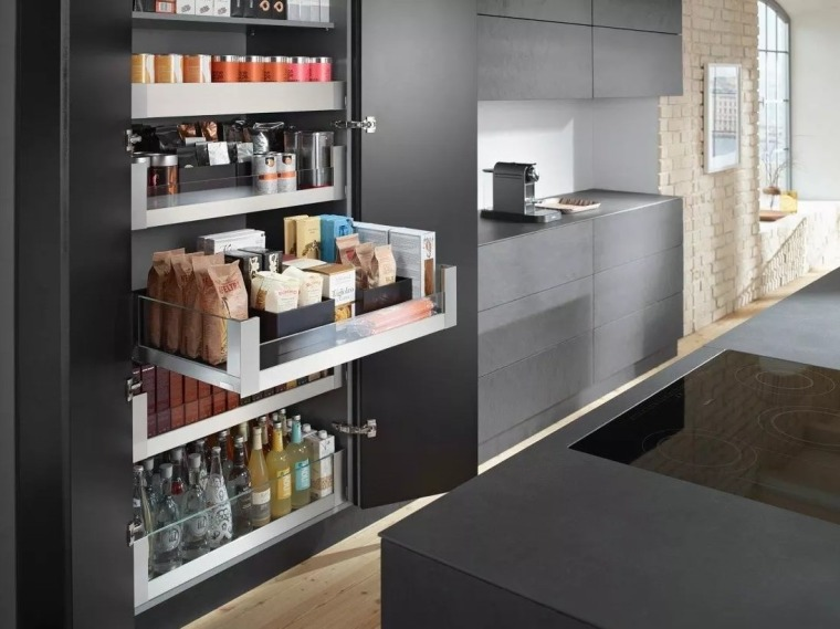 Rearrange your kitchen's pantry to make sure everything countertop, display case, interior design, kitchen, shelf, black, gray