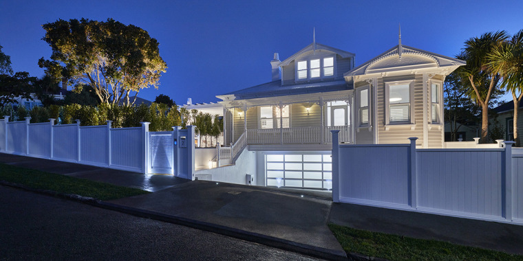 Brand new – or better than brand new? architecture, building, estate, facade, fence, home, house, lighting, mansion, property, real estate, residential area, sky, villa, blue, black
