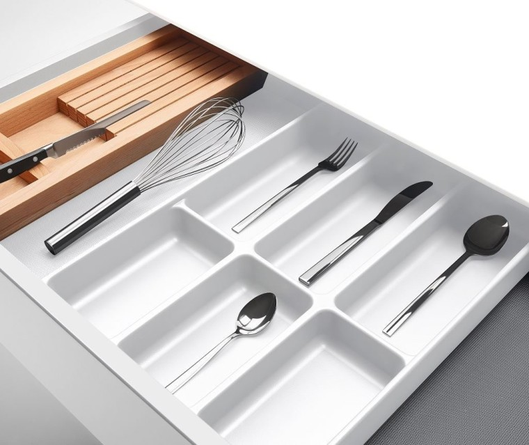 Impala Plastika Drawer Organiser - 'Mono' Multipurpose Insert cutlery, fork, product, tableware, white