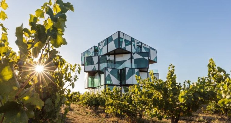 This new winery stretches the limits of technology. building, cottage, facade, home, house, property, real estate, sky, brown, gray