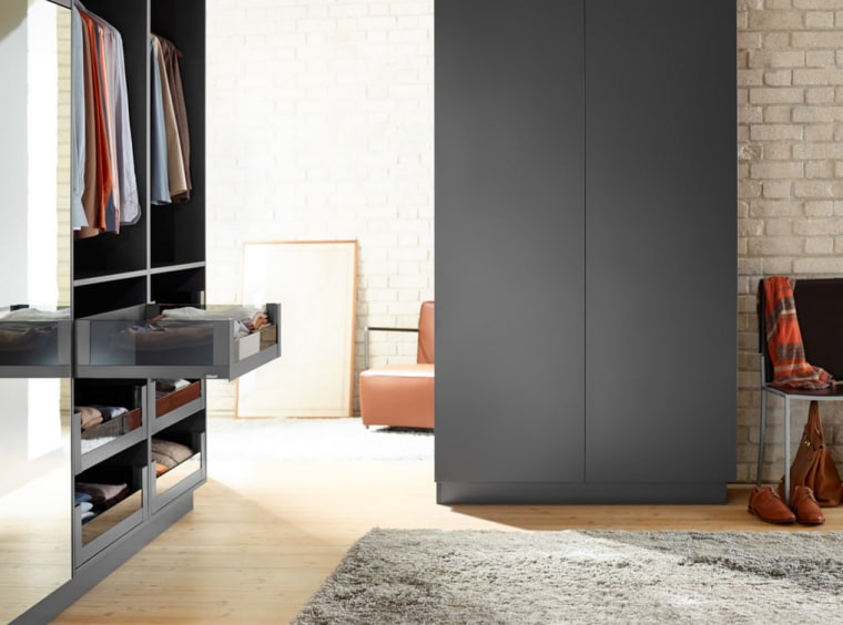 Blum's LEGRABOX drawer system makes decluttering a closet, door, floor, furniture, interior design, product design, room, wardrobe, white