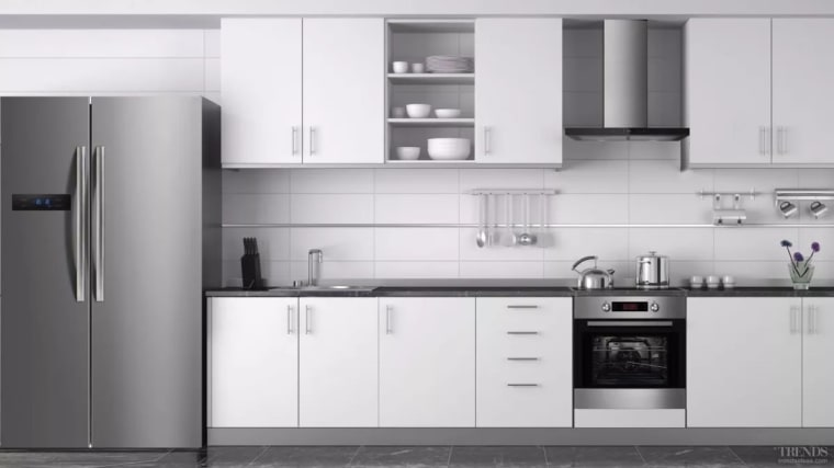To help you fit out your kitchen with cabinetry, countertop, cuisine classique, home appliance, interior design, kitchen, kitchen appliance, kitchen stove, major appliance, product, product design, refrigerator, small appliance, white, gray