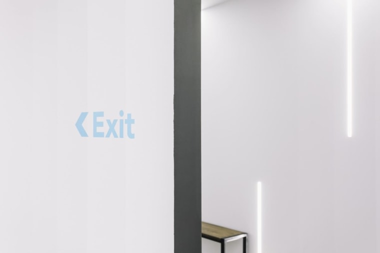 Blue and white feature near the exit product design, white