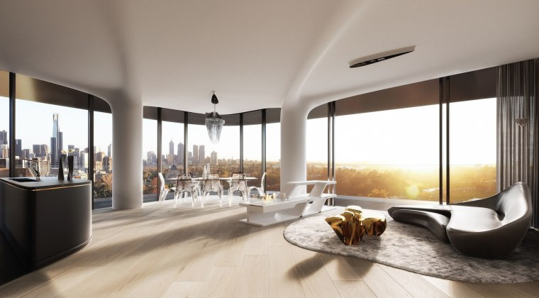 Mayfair Residential Tower – Zaha Hadid Architects apartment, architecture, ceiling, condominium, floor, interior design, living room, penthouse apartment, real estate, window, gray