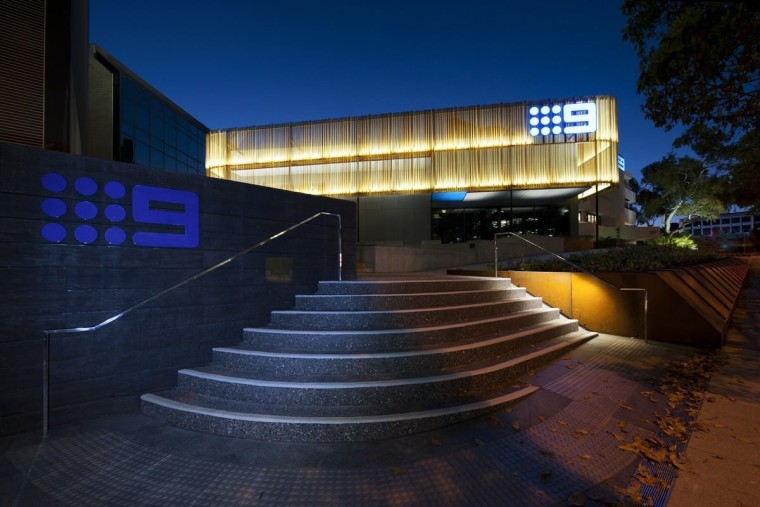 Channel 9 Headquarters – Cox Howlett & Bailey architecture, building, facade, light, lighting, night, performing arts center, real estate, reflection, sky, structure, black