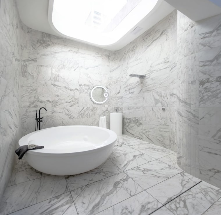 Marble runs across the floor – and up bathroom, bathroom sink, bidet, ceramic, floor, flooring, interior design, plumbing fixture, product design, room, sink, tap, tile, toilet seat, wall, gray, white
